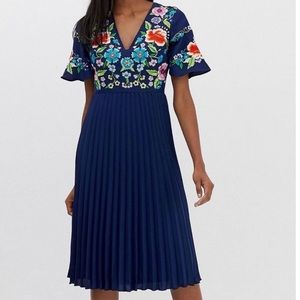 NWT! ASOS Floral Embroidered Midi Dress Pleated